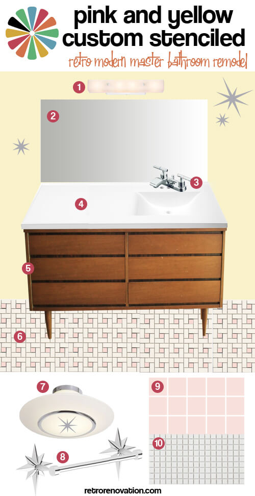 pink and yellow custom stenciled retro modern bath remodel