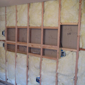 shelving recessed between wall studs