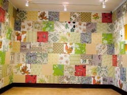 how we installed vintage wallpaper crazy quilt style
