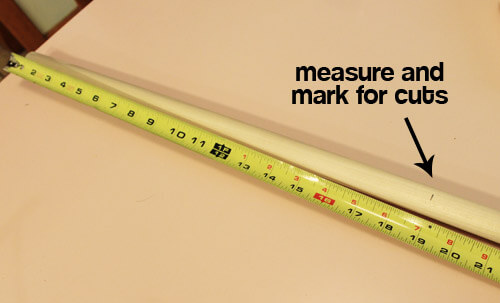 step1 measure and cut legs from 7/8 inch dowel rods