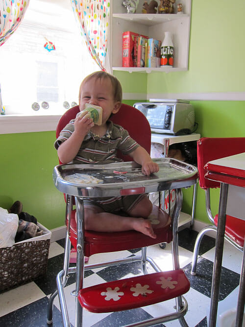 vintage red high chair