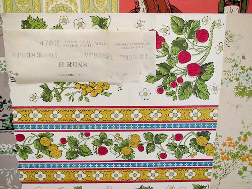 vintage wallpaper with label affixed