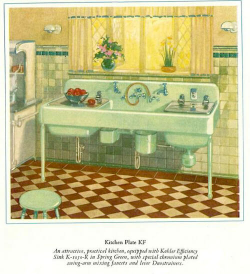 jadeite color kitchen sink from 1927