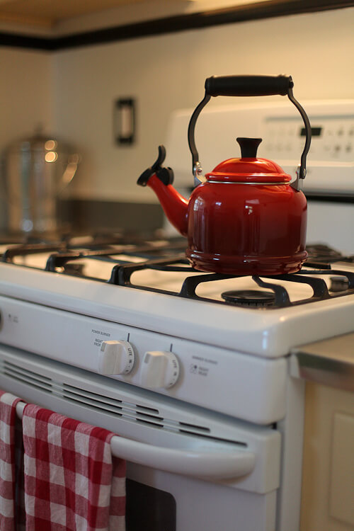 vintage style red tea kettle