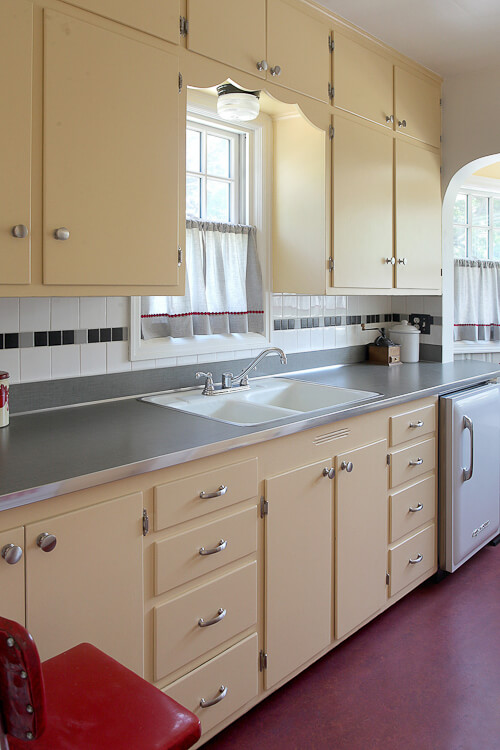 gray laminate countertops with metal edging