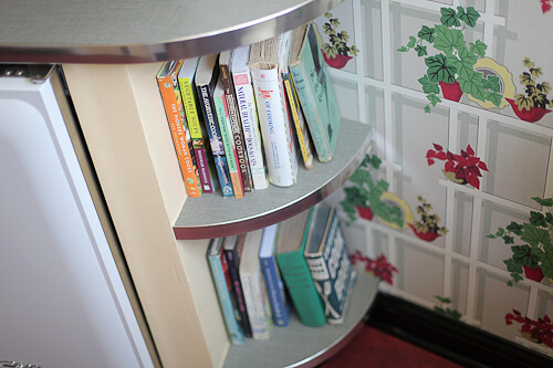 rounded shelves in kitchen