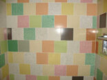 Bathroom tile in a patchwork quilt design, original to 1956 Portland General Electric Show Home