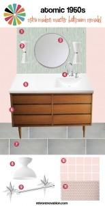 Atomic 1950s Retro Modern bath remodel