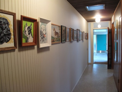 paint by numbers paintings in a hallway