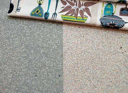 Linen- And Terrazzo-look Vinyl Sheet Flooring In Aqua And