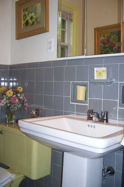 Bathroom Yellow And Gray roberta's gray and yellow bathroom fixit - world of tile to the