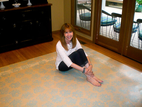 Lauren With Her Diy Painted Linoleum Rug