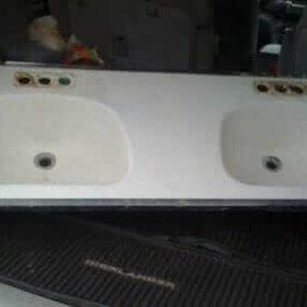 double bowl steel bathroom sink