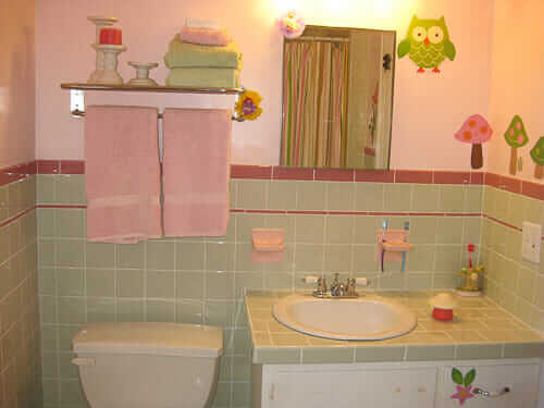 Marvelous  Amanda us delightful mint and pink bathroom design u using new American Olean tiles available today