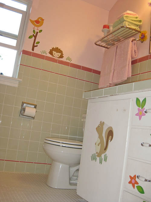 mint green tile with rose pink trim tile