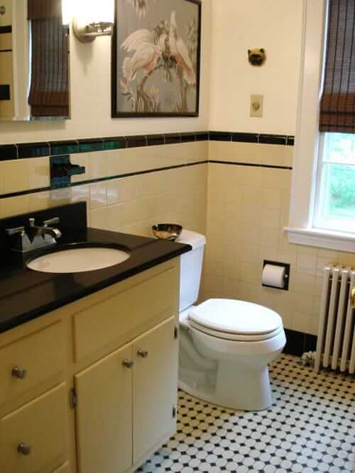 Black and white bathroom with accent color google search for Bathroom ideas black tiles