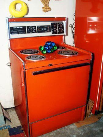 Red Vintage Stove Poppy Refrigerator