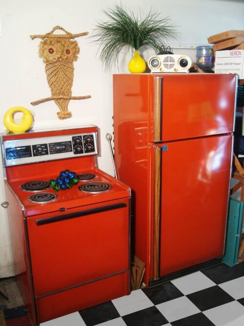 poppy red frigidaire refrigerator and stove