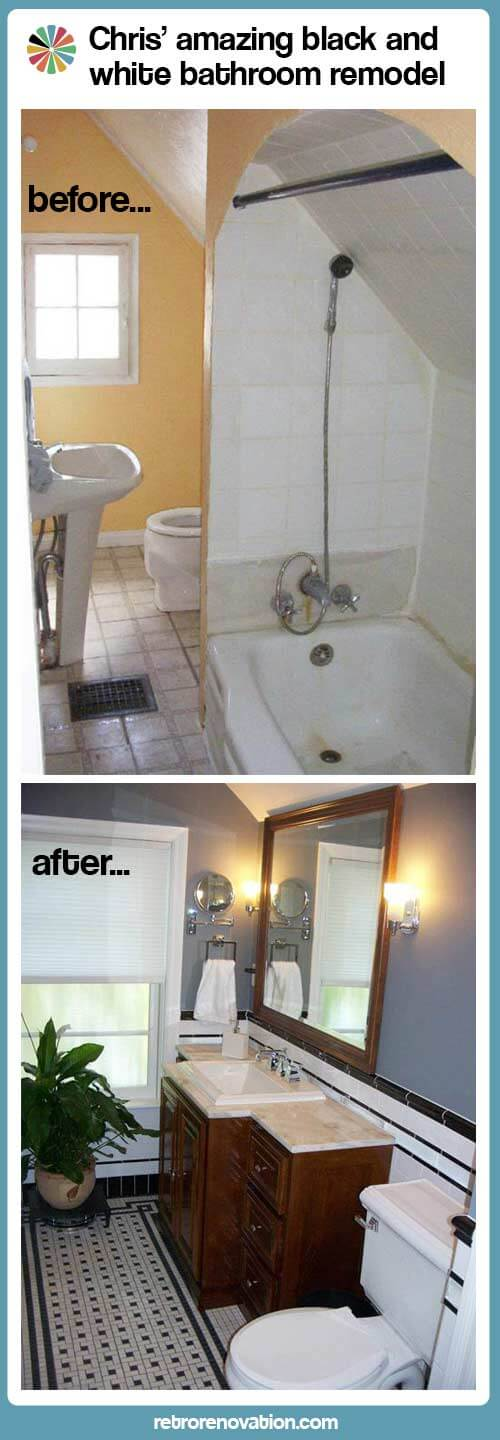 Diy Bathroom Remodel List chris' black and white bathroom remodel - amazing attention to
