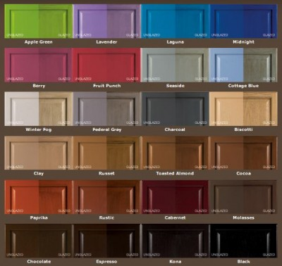 rustoleum cabinet transformations color options shown with and without glaze applied