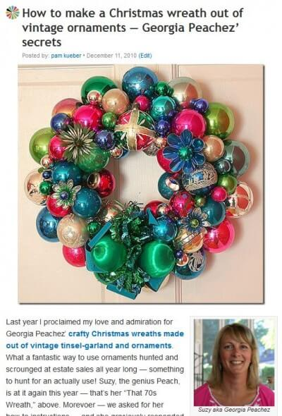 how to make a wreath from vintage christmas ornaments