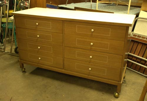 vintage dresser on wheels