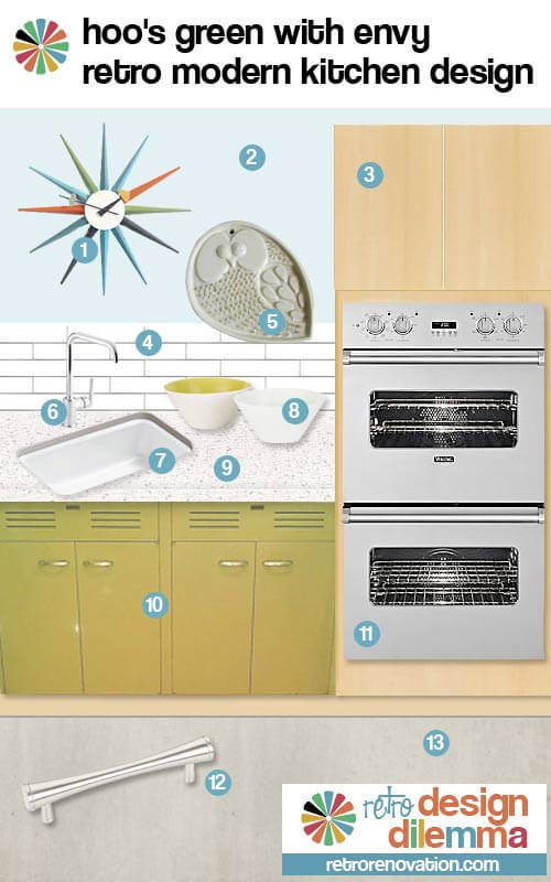 retro modern st charles kitchen green