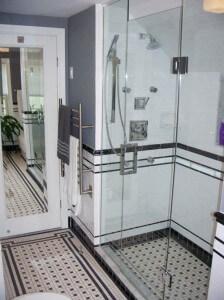 vintage-tile-with-modern-shower glass doors