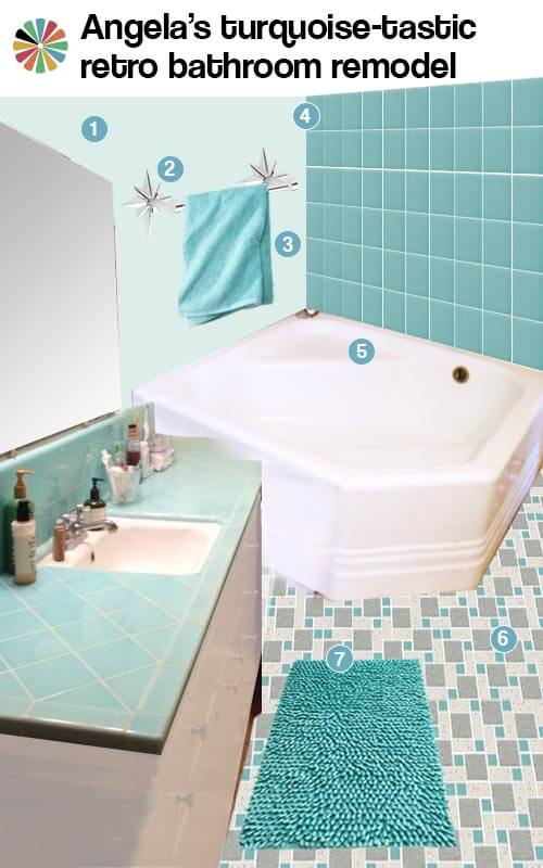 3 ideas for angela 39 s aqua bathroom design retro renovation for Old tile bathroom ideas