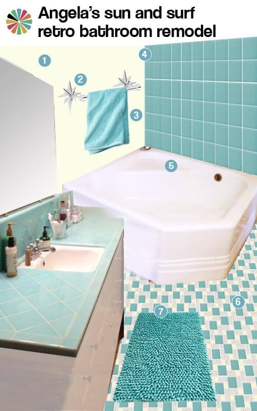 aqua and yellow vintage bath remodel
