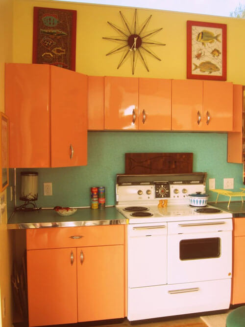 coral-metal-retro-kitchen-cabinets