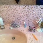 pink gold metallic tile