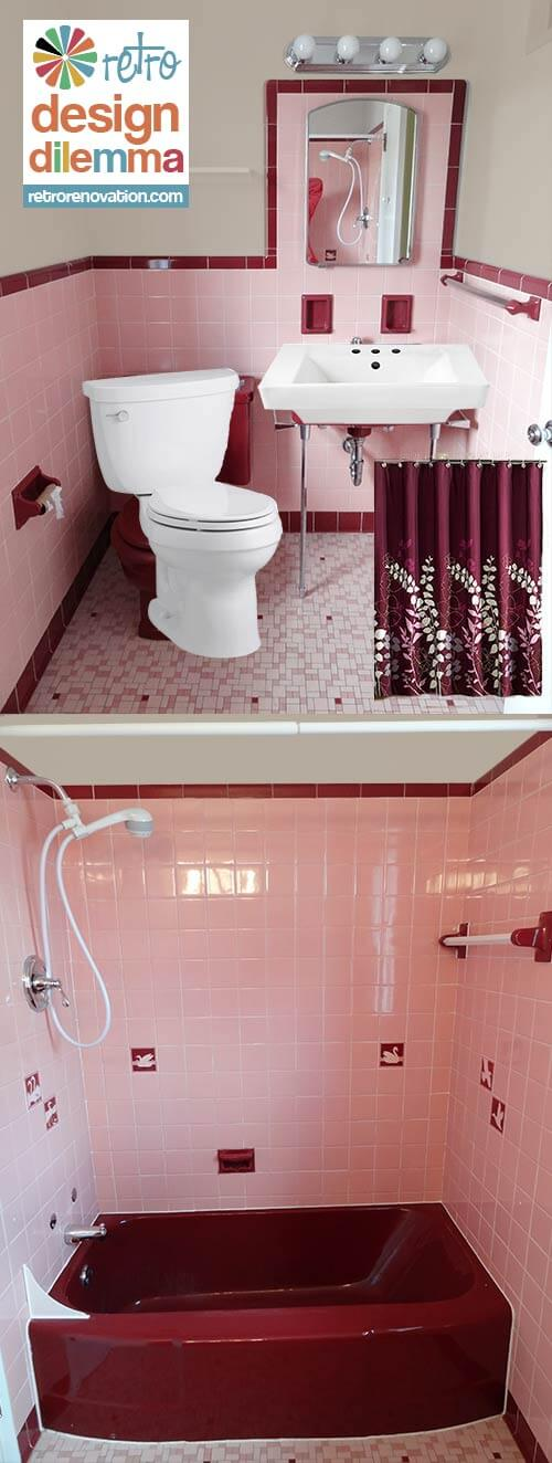 pink and maroon bathroom retro