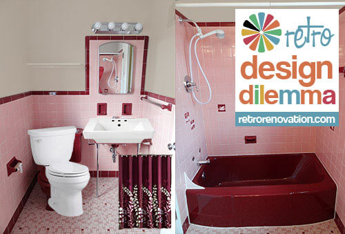 pink bath with white fixtures and maroon shower curtain
