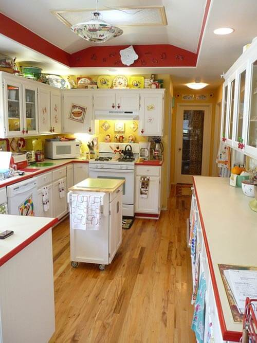 Red And Yellow Vintage Kitchen