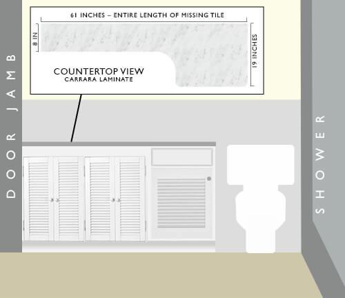 Bath-vanity-solution for missing tile retro