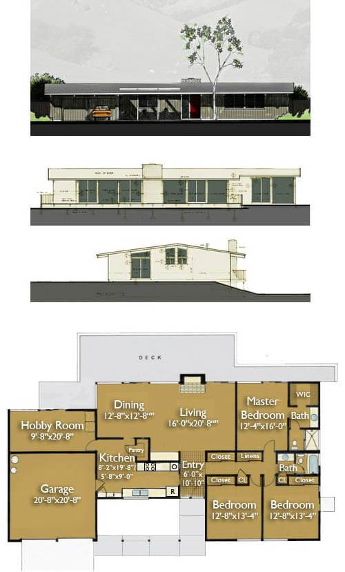 Build An Eichler Ranch House 8 Original Design House Plans Available Today on mid century modern house plans atrium
