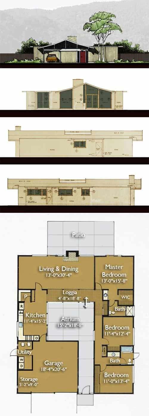Build an Eichler ranch house - 8 original design house plans ...