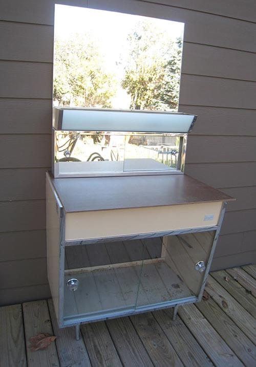 Satin Glide Metal Bathroom Vanity Vintage Beauty Spotted