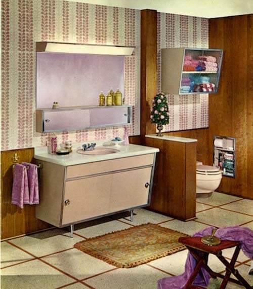 Satin Glide Metal Bathroom Vanity Vintage Beauty Spotted