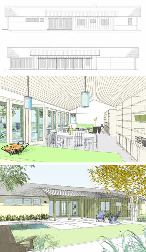 Cliff May inspired ranch house plans from Houseplans com   Retro    Cliff May Inspired home plan