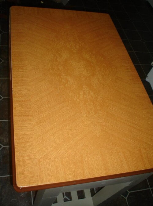 kitchen island using vintage metal table top
