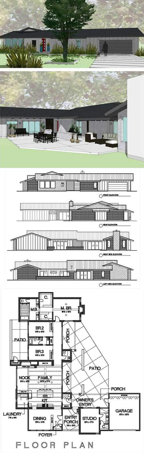 8 Cliff May inspired ranch house plans from Houseplans.com