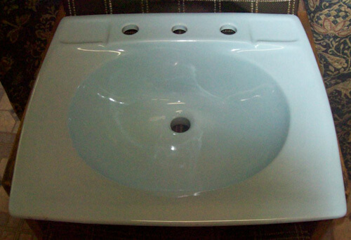 Light Green 20 X 17 inch square 8 inch spread lavatory sink