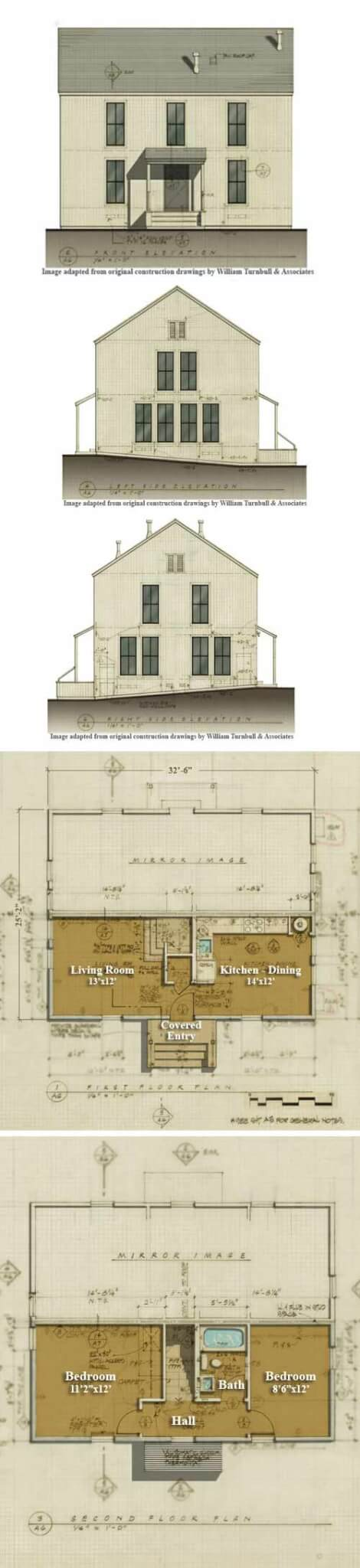 william turnbull duplex historic beach cottage plan - The Redwood House Plans 1960s
