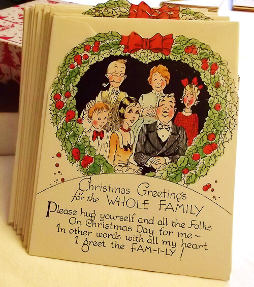 vintage christmas card family