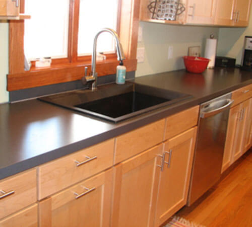 Stacia\'s one-piece, custom kitchen stainless steel sink and counter ...