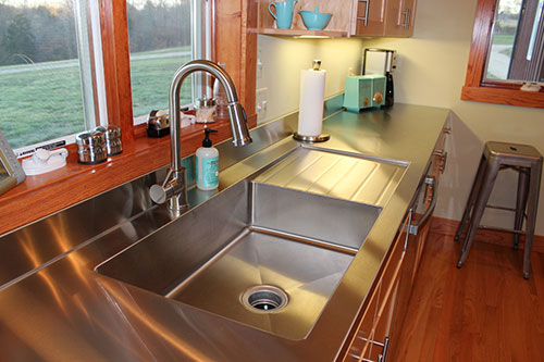 Stacia 39 s one piece custom kitchen stainless steel sink for Stainless steel bathroom countertops
