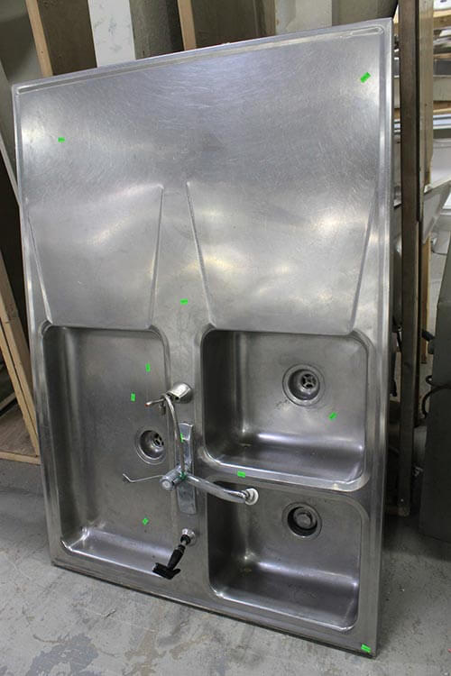 two sided stainless steel sink with drainboards