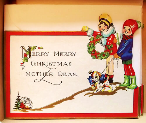 vintage christmas card mother